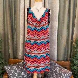Izzy Maternity Dress Bold Multicolor Chevron L New
